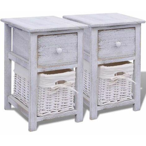 Hommoo Bedside Cabinets 2 pcs Wood White QAH09481