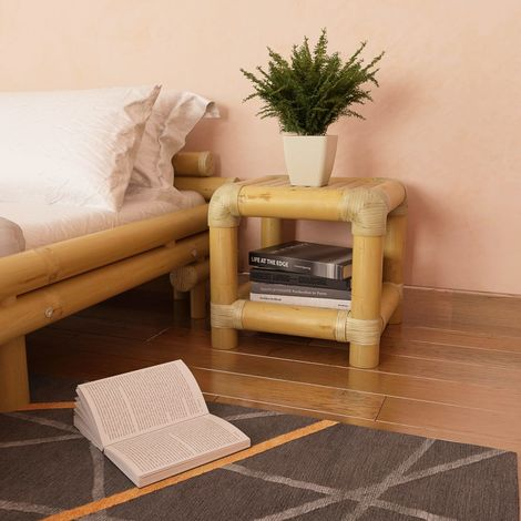 Hommoo Bedside Table 40x40x40 cm Bamboo Natural