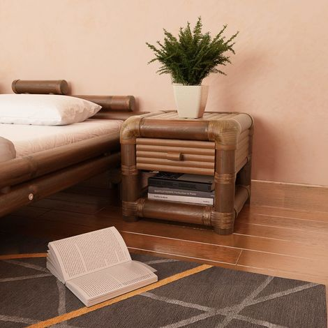 Hommoo Bedside Table 45x45x40 cm Bamboo Dark Brown
