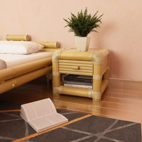Hommoo Bedside Table 45x45x40 cm Bamboo Natural