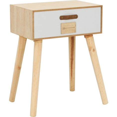 Hommoo Bedside Table with a Drawer 44x30x58.5 cm Solid Pinewood