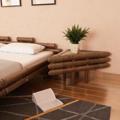 Hommoo Bedside Tables 2 pcs 60x60x40 cm Bamboo Dark Brown