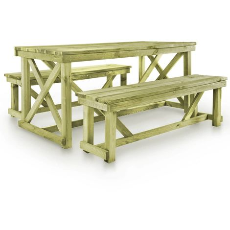 Hommoo Beer Table with 2 Benches FSC Wood