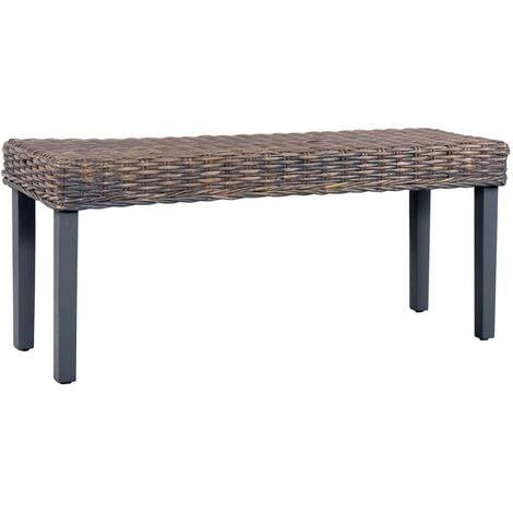 Hommoo Bench 110 cm Grey Natural Kubu Rattan and Solid Mango Wood