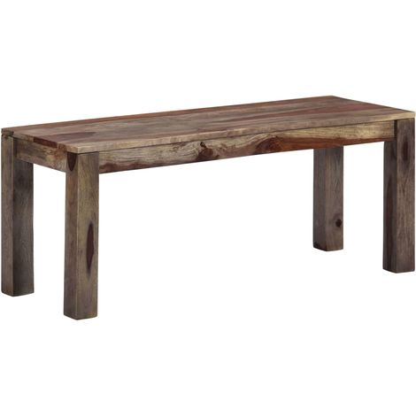 Hommoo Bench 110 cm Grey Solid Sheesham Wood