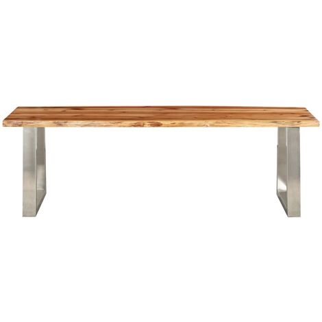 Hommoo Bench 140 cm Solid Acacia Wood and Stainless Steel QAH24540
