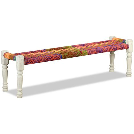 Hommoo Bench Solid Acacia Wood with Chindi Fabric Multicolour