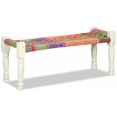 Hommoo Bench Solid Acacia Wood with Chindi Fabric Multicolour VD10404