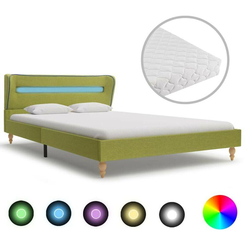 Bett mit LED und Matratze Grün Stoff 140x200 cm VD20845 - Hommoo
