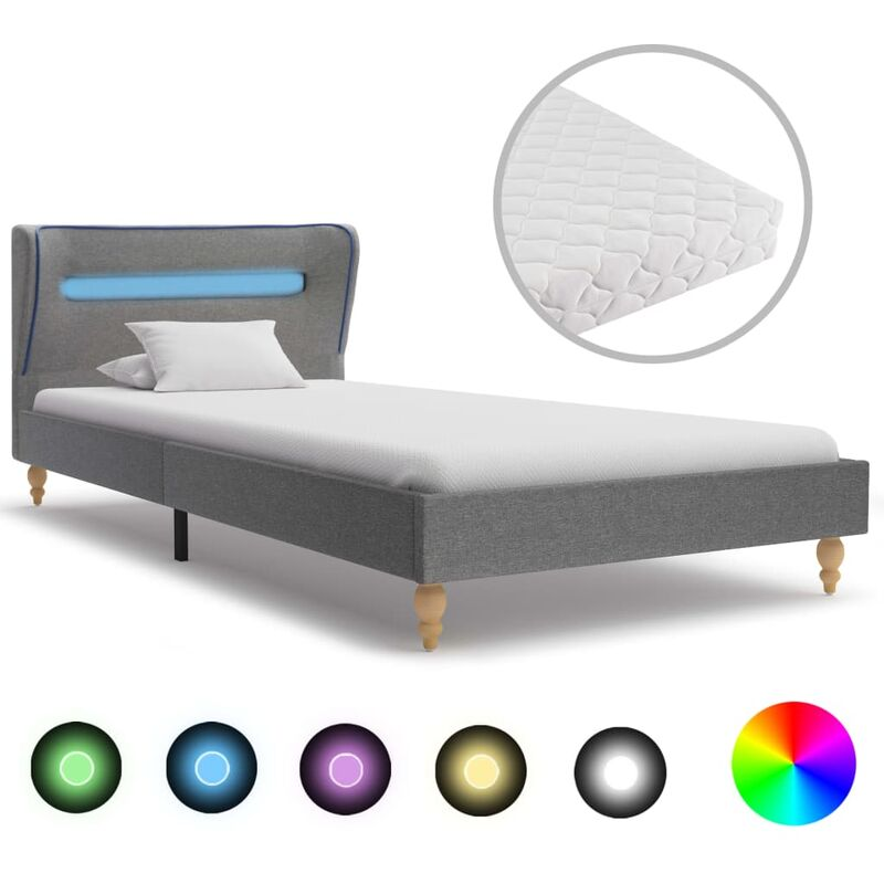 Hommoo Bett mit LED und Matratze Hellgrau Stoff 90 x 200 cm VD20356