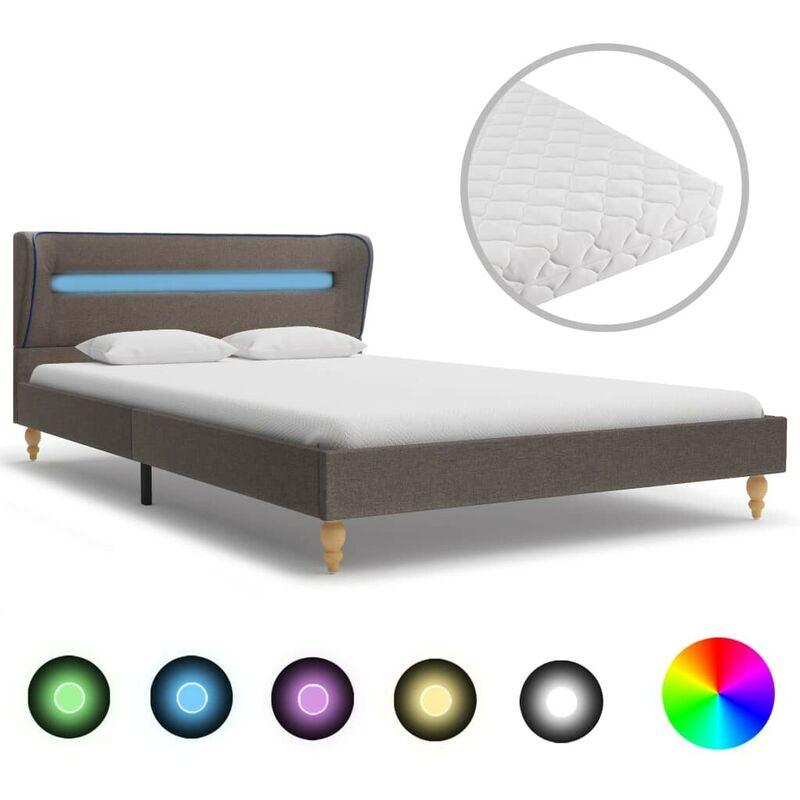 Bett mit LED und Matratze Taupe Stoff 140x200 cm VD20848 - Hommoo