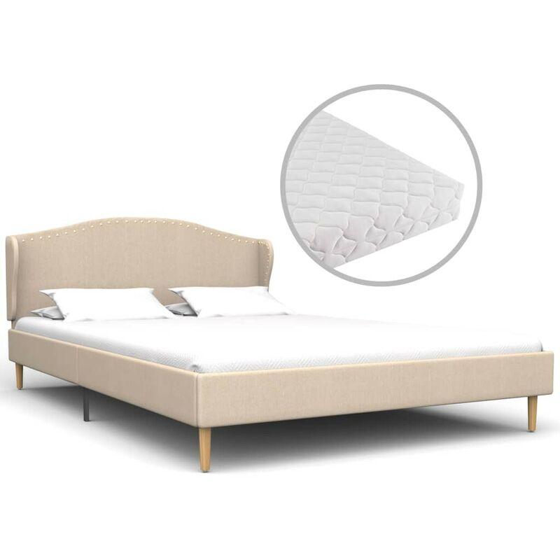 Bett mit Matratze Beige Stoff 140 x 200 cm VD19940 - Hommoo