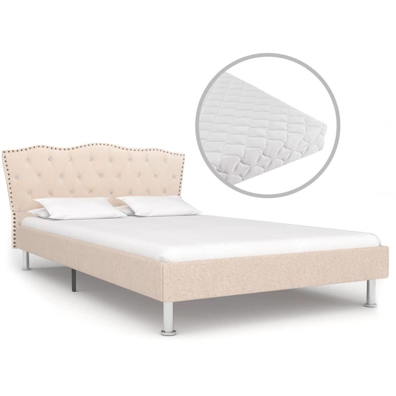 Hommoo Bett mit Matratze Beige Stoff 140 x 200 cm VD19919