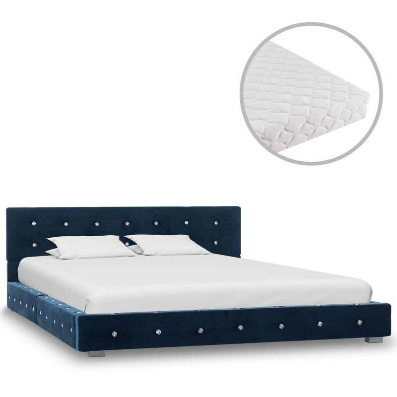 Bett mit Matratze Blau Samt 140 x 200 cm VD20804 - Hommoo