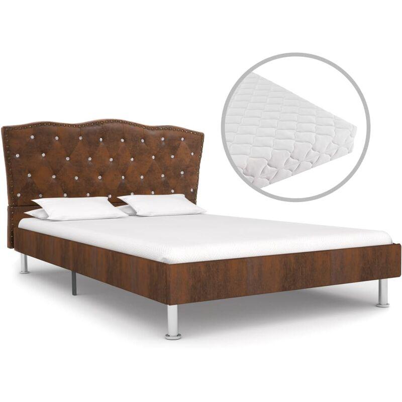 Hommoo Bett mit Matratze Braun Stoff 120 x 200 cm