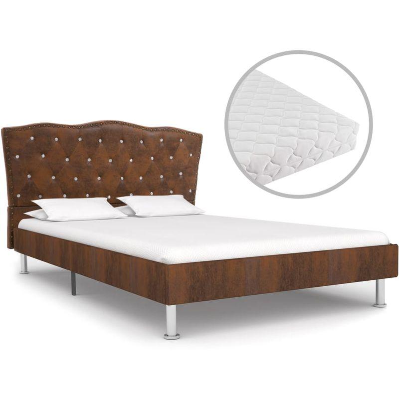 Hommoo Bett mit Matratze Braun Stoff 140 x 200 cm VD19929