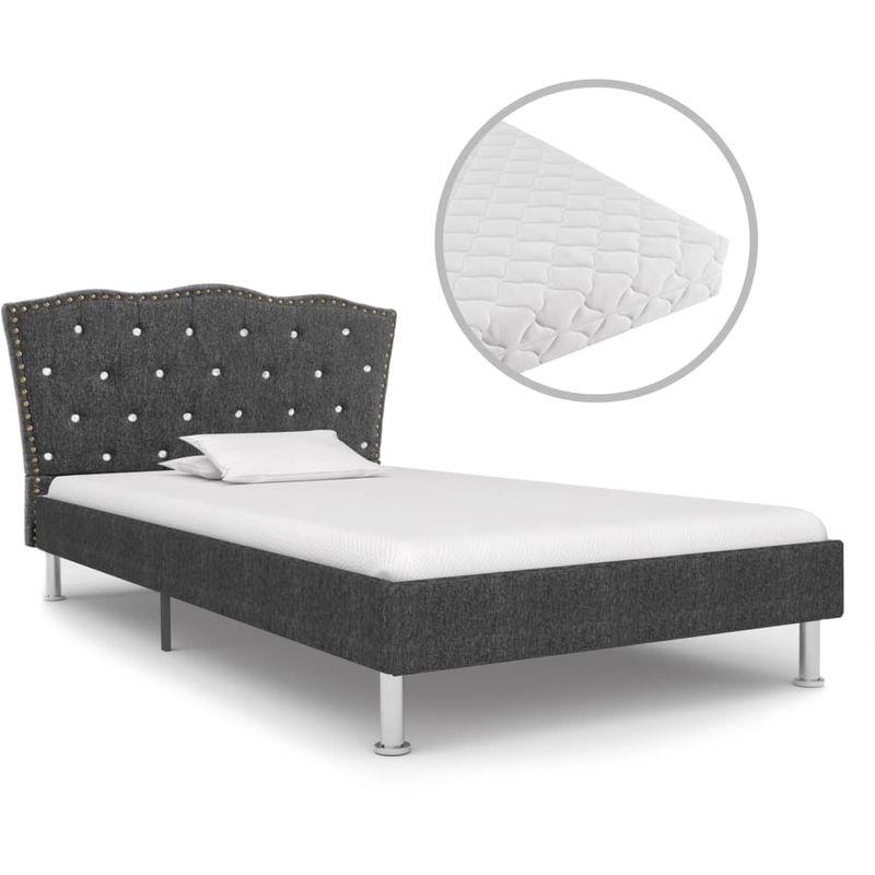 Bett mit Matratze Dunkelgrau Stoff 90 x 200 cm VD19912 - Hommoo