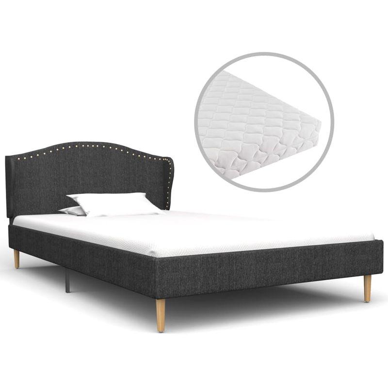 Hommoo Bett mit Matratze Dunkelgrau Stoff 90 x 200 cm VD20854