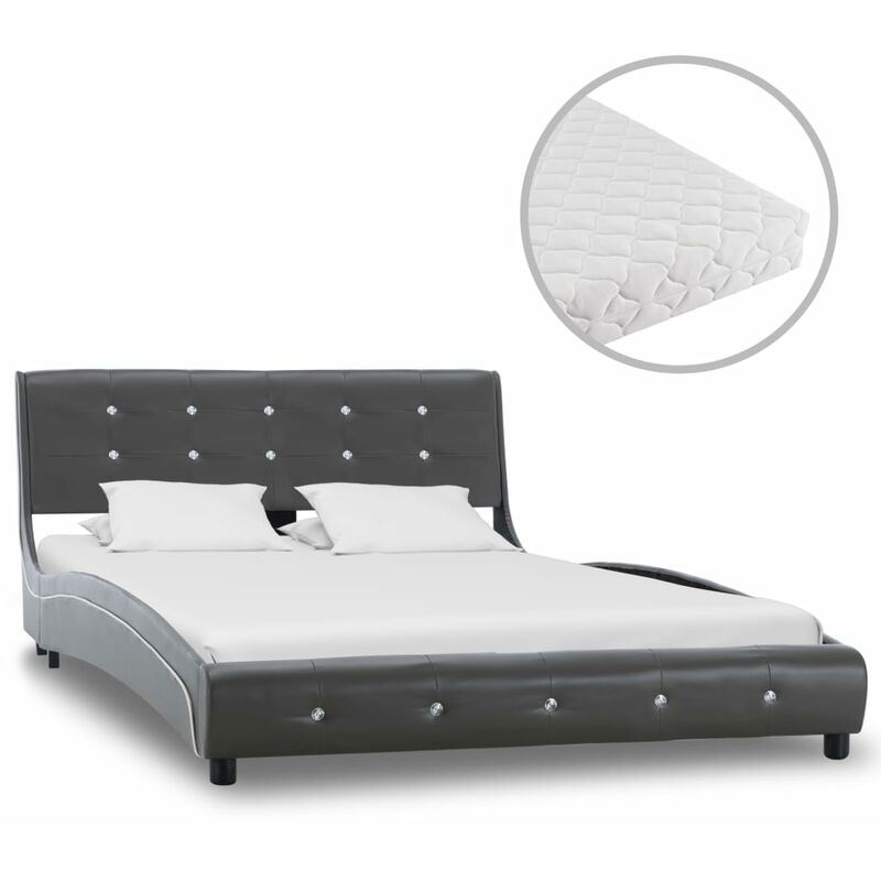 Bett mit Matratze Grau Kunstleder 120 ¡Á 200 cm - Hommoo