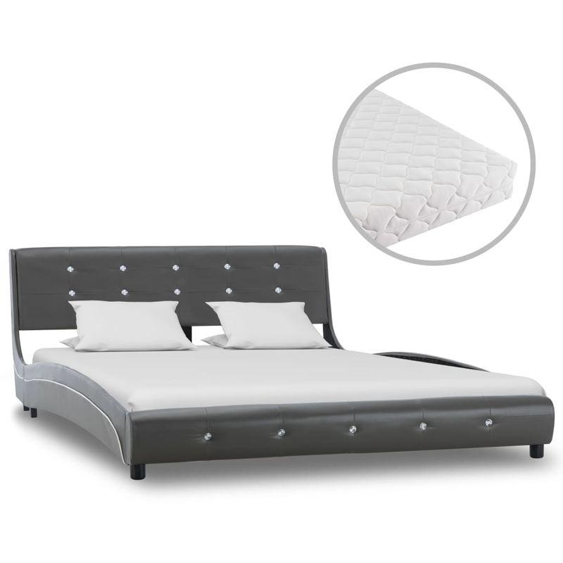 Hommoo Bett mit Matratze Grau Kunstleder 140 x 200 cm VD20241
