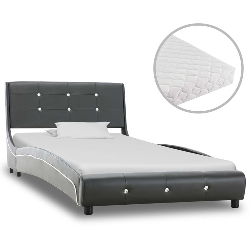 Bett mit Matratze Grau Kunstleder 90 x 200 cm VD20239 - Hommoo