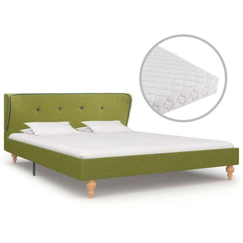 Hommoo Bett mit Matratze Grün Stoff 140 x 200 cm VD20032