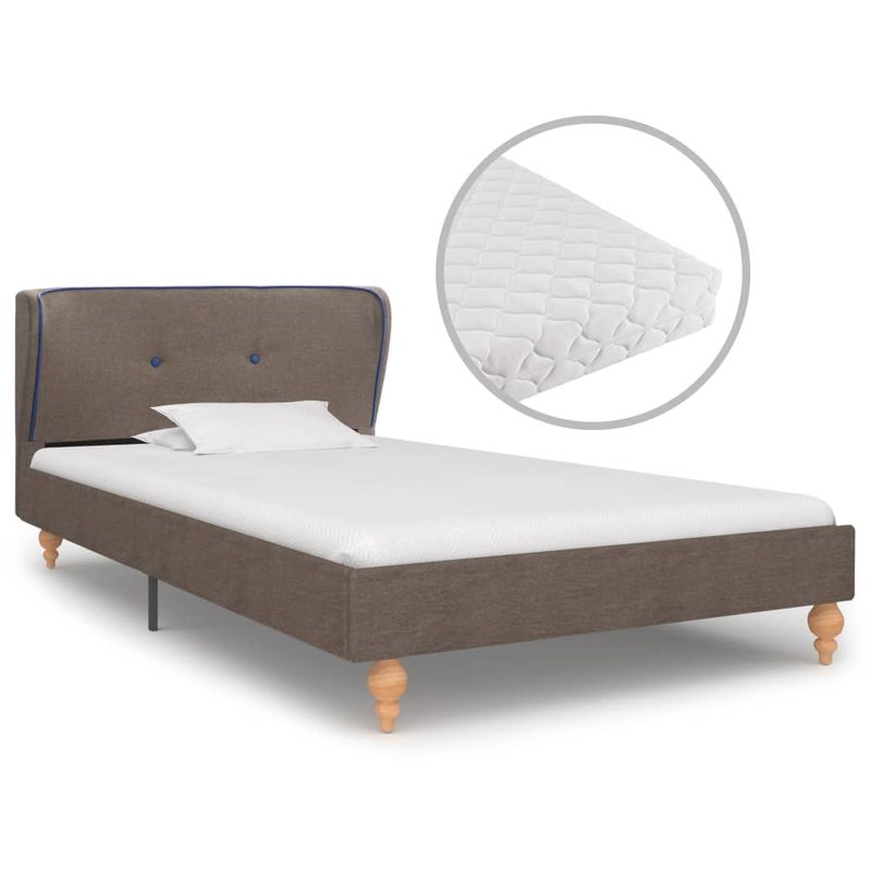 Hommoo Bett mit Matratze Taupe Stoff 90 x 200 cm VD20033
