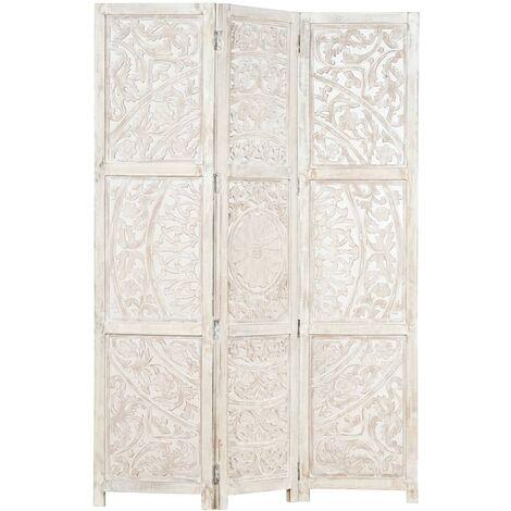 Hommoo Biombo 3 paneles tallado a mano madera mango blanco 120x165 cm