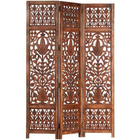 Hommoo Biombo 3 paneles tallado a mano madera mango marrón 120x165 cm