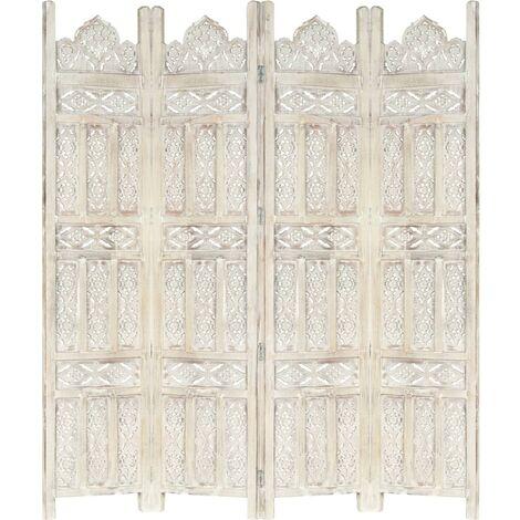 Hommoo Biombo 4 paneles tallado a mano madera mango blanco 160x165 cm