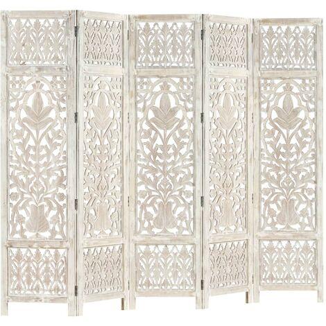 Hommoo Biombo 5 paneles tallado a mano madera mango blanco 200x165 cm