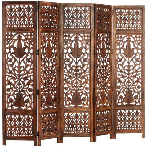 Hommoo Biombo 5 paneles tallado a mano madera mango marrón 200x165 cm