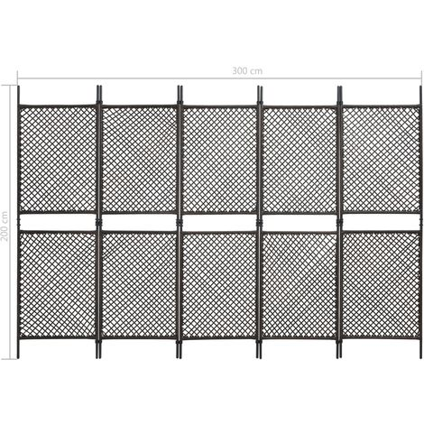 Hommoo Biombo de 6 paneles ratán sintético marrón 300x200 cm