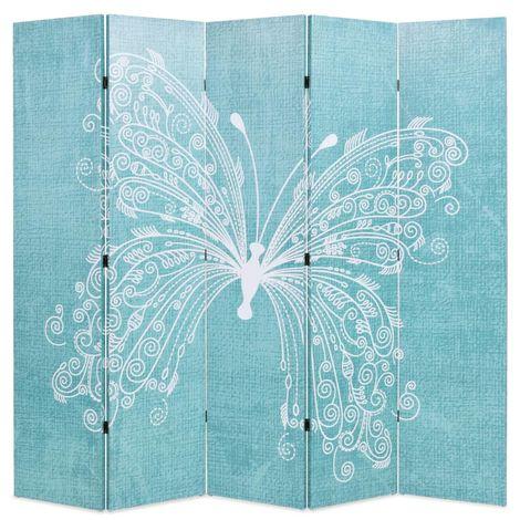 Hommoo Biombo divisor plegable 200x170 cm mariposa azul