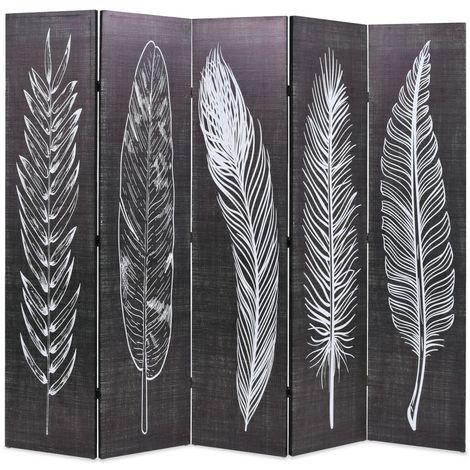Hommoo Biombo divisor plegable 200x170 cm plumas blanco y negro