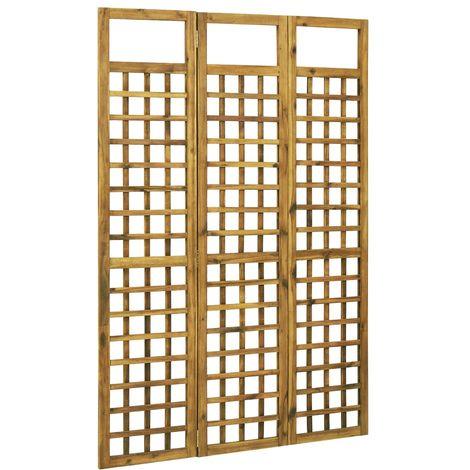 Hommoo Biombo/Enrejado de 3 paneles madera maciza de acacia 120x170cm