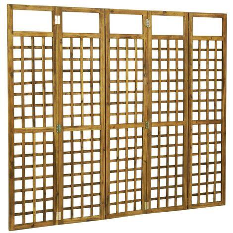 Hommoo Biombo/Enrejado de 5 paneles madera maciza de acacia 200x170 cm