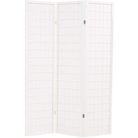 Hommoo Biombo plegable 3 paneles estilo japonés 120x170 cm blanco