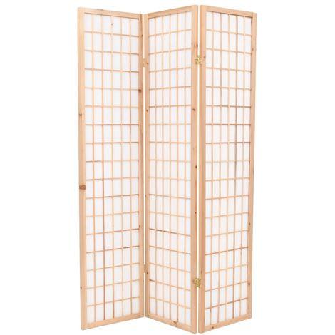 Hommoo Biombo plegable 3 paneles estilo japonés 120x170 cm natural