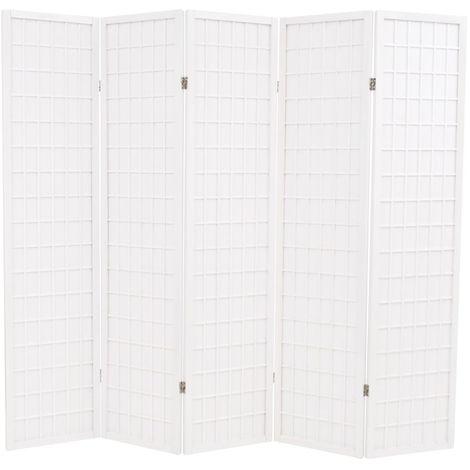 Hommoo Biombo plegable 5 paneles estilo japonés 200x170 cm blanco
