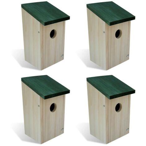 Hommoo Bird Houses 4 pcs Wood 12x12x22 cm