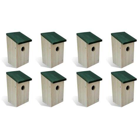 Hommoo Bird Houses 8 pcs Wood 12x12x22 cm