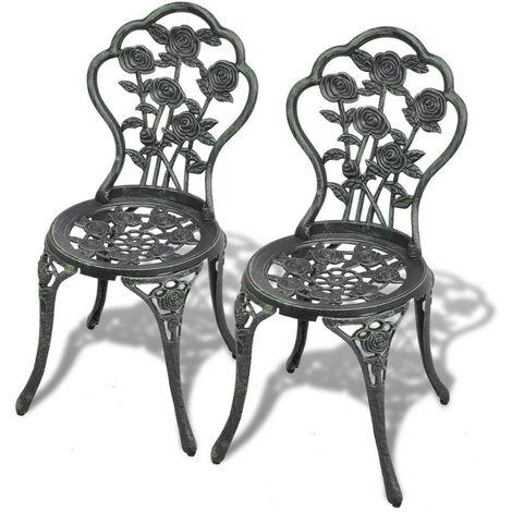 Hommoo Bistro Chairs 2 pcs Cast Aluminium Green