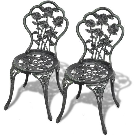 Hommoo Bistro Chairs 2 pcs Cast Aluminium Green VD27554