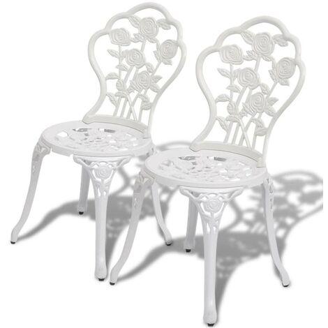 Hommoo Bistro Chairs 2 pcs Cast Aluminium White