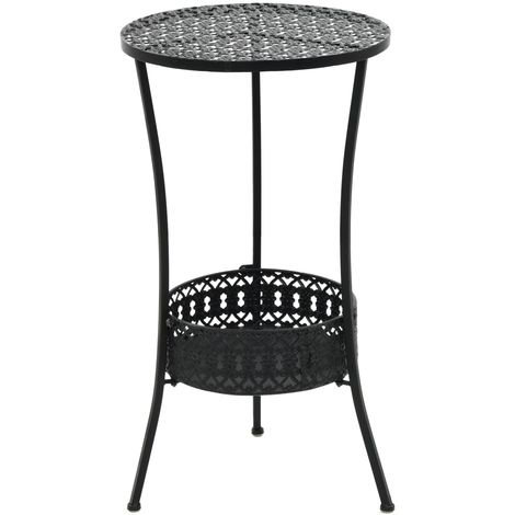Hommoo Bistro Table Black 40x70 cm Metal