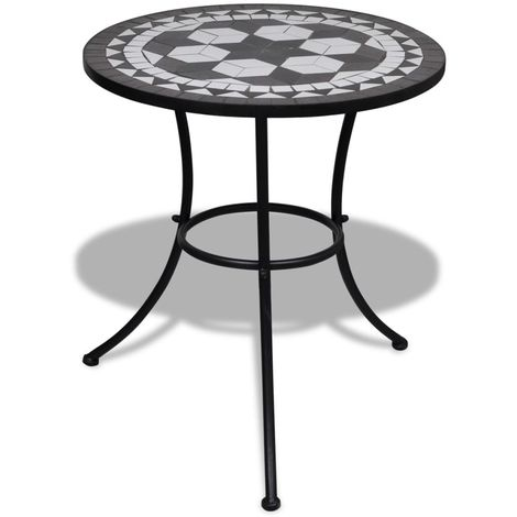 Hommoo Bistro Table Black and White 60 cm Mosaic
