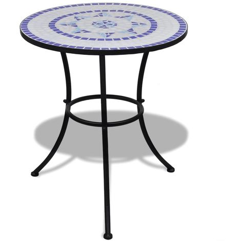 Hommoo Bistro Table Blue and White 60 cm Mosaic