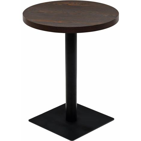 Hommoo Bistro Table MDF and Steel Round 60x75 cm Dark Ash