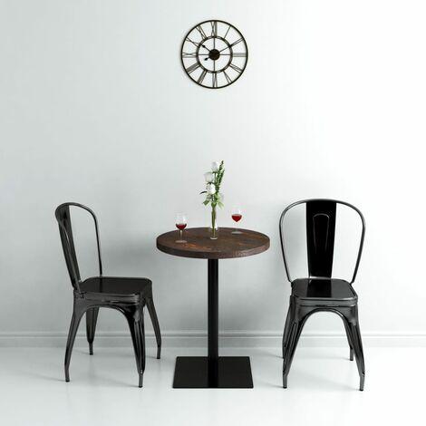 Hommoo Bistro Table MDF and Steel Round 60x75 cm Dark Ash QAH11567